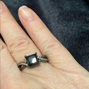 🆕NWOT Hematite Ring w Black Square & Crystals (7)